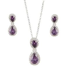 Silver-Tone Prong CZ Wedding Dual Teardrop Necklace Earrings Set Purple buy at mariescrystals.com