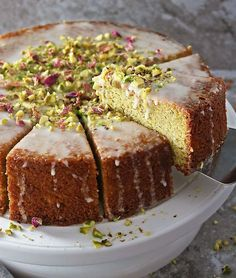 Pistachio Rose Semolina Cake Recipe - Savory Spin - Desserts - Picking Up A Slice of Ottolenghi& Pistachio Rose Cake - Sweet Recipes, Cake Recipes, Dessert Recipes, Desserts, Cupcakes, Cupcake Cakes, Ottolenghi Recipes, Yotam Ottolenghi, Semolina Cake
