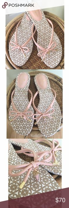"""KATE SPADE SANDALS Brand new without box or tags.  Great summer sandal in Pale Pink.                                                                             100% NAPPA LEATHER Synthetic sole Heel measures approximately 1"""" Flip-flop featuring leather thong strap with bow and logo charm at toe post Medallion-patterned footbed kate spade Shoes Sandals"""