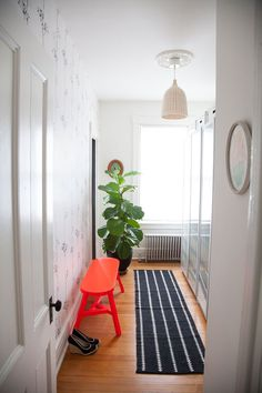 A Beautiful Mess shares Anna Dorfman's beautiful home, complete with black accent walls. Vestibule, Beautiful Mess, Beautiful Space, Black Accent Walls, Sweet Home, House Design Photos, Home Decor Inspiration, Bathroom Inspiration, Bathroom Ideas