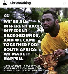 This is a Goal that will uplift an entire country so much instead of self righteous tearing down of a Rainbow 🌈 Nation. Siya Kolisi, Different Races, Unity, Goal, Rainbow, King, Shit Happens, Country, Rain Bow