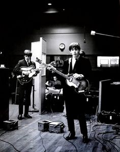 The Beatles in the studio.