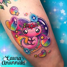 Finally I did this rainbow that I drew almost a year ago , I hope be able to do more axolotl tattoos in the future! is one of my favorite animals because is mexican and super kawaii✨☺️ Thank you so much Karla Love Tattoos, Unique Tattoos, Beautiful Tattoos, Body Art Tattoos, New Tattoos, Tatoos, Unicorn Tattoos, Animal Tattoos, Laura Anunnaki