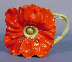 Lot: 263: Royal Bayreuth Poppy Cream Pitcher NR, Lot Number: 0263, Starting Bid: $30, Auctioneer: Tom Harris Auctions, Auction:  May 12th  Art Glass & China Auction , Date: May 12th, 2007 EDT