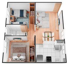 3d House Plans, House Layout Plans, House Blueprints, Small House Plans, House Layouts, Small Apartment Plans, Small Apartment Interior, Small Apartment Design, Apartment Layout
