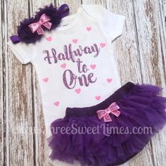 Halfway to One Baby Girl Outfit  Tutu Bloomers  by ThreeSweetLimes