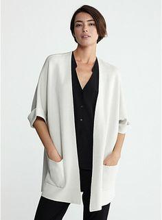 elbow-sleeve long jacket in silk cotton interlock #eileenfisher