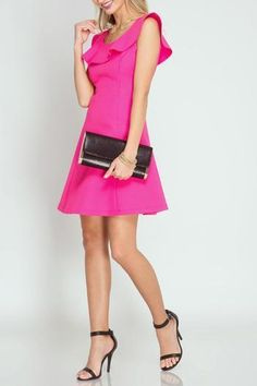 Have whatever future you desire and look great doing it with the Future Fuchsia Dress! This bold but feminine dress is textured and features a beautiful ruffle Hot Pink Dresses, Little Dresses, Valentines Day Dresses, Sweetheart Dress, Trendy Tops, Unique Outfits, Flare Dress, Fit And Flare, Dress To Impress