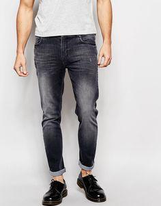 Bild 1 von Hoxton Denim – Schwarze enge Jeans im Used-Look