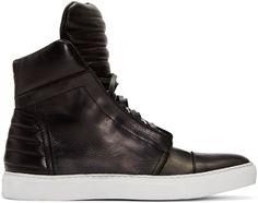DIESEL Black Leather High-Top Sneakers. #diesel #shoes #sneakers