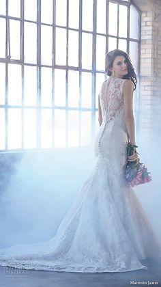 madison james fall 2015 bridal sleeveless v neckline lace embroidery trumpet beautiful mermaid wedding dress style mj160