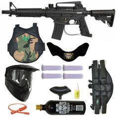 US Army Alpha Black E-Grip Paintball Marker Gun 3Skull 4+1 Protector Mega Set. Available at UltimatePaintball.com