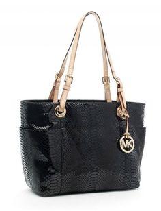 MICHAEL Michael Kors Jet Set Zip-top Tote Black Python-embossed Leather