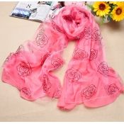 Casual Double-layers Rose Pattern Deep Pink Silk Scarves