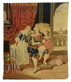 tapestry needle point cross stitch man woman boy hound dog handmade antique 1800 #handmade