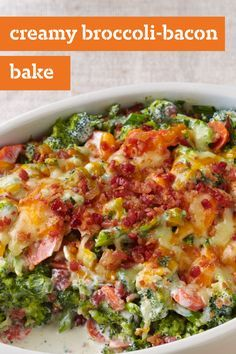 Creamy Broccoli-Bacon Bake – Give your dinner table a cheesy twist with this vegetable recipe! In under an hour, you and your family can enjoy this delicious dish and its golden-brown topping. Broccoli Recipes, Vegetable Recipes, Broccoli Bake, Vegetable Bake, Seafood Recipes, Cooking Recipes, Healthy Recipes, Bacon Recipes, Cooking Ideas