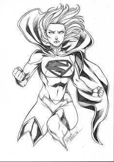 Supergirl by Daniele Torres Drawing Superheroes, Drawing Cartoon Characters, Character Drawing, Comic Character, Cartoon Drawings, Character Design, Supergirl Drawing, Supergirl Dc, Comic Books Art