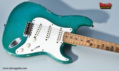 Premier Guitar: An incredibly rare 1957 #Fender custom color Taos Turquoise Strat—the most prized axe behind the doors of Dave's Guitar Shop!
