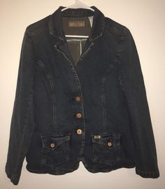 Womens LEVI STRAUSS SIGNATURE Blue Jean Denim Jacket Coat Blazer Large Stretch #Levis #JeanJacket