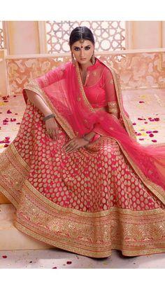 Pink Net Lehenga with Art silk Choli - DMV9031