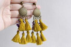 Long tassel earrings Gypsy amethyst earrings Ethnic big