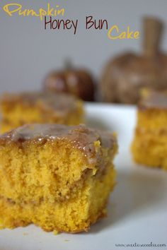 Pumpkin Honey Bun Cake made with Duncan Hines Yellow Cake mix by Sweet as a Cookie. All of my family LOVES the Honey Bun Cake. Honey Bun Cake, Honey Buns, Yummy Treats, Sweet Treats, Yummy Food, Fall Desserts, Just Desserts, Cake Mix Recipes, Dessert Recipes