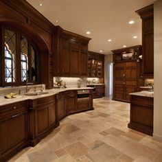 traditional kitchenslight floors dark cabinets light granite - Dark Kitchen Cabinets With Light Granite