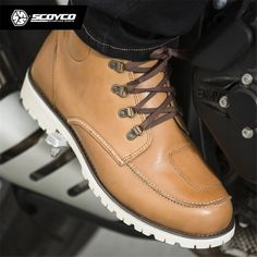 SCOYCO Motorcycle Boots Vintage Stivali Mens Biker Shoes Racing Retro Brown
