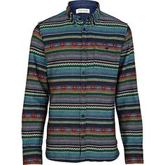 Navy aztec stripe long sleeve shirt - printed shirts - shirts - men