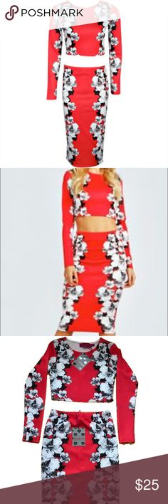 Boohoo NWT 2 piece Floral crop & Midi co-ord Boohoo NWT 2 piece Floral crop & Midi co-ord. Perfect for spring or shower. Color, red, black and white. Boohoo Dresses Midi