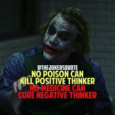 There is no poison which can kill positivity and no doctor can cure negativity.. . . #joker #jokerneverdies #heathledger #batman #brucewayne #gothamcity #afternoon #motivation #motivationalquotes #nopoisoncankillapositivethinker #nodoctorcancurenegativity ..