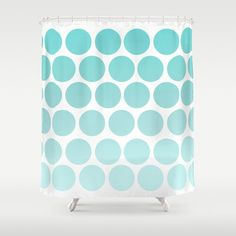 Blue Polka Dot  Shower Curtain by ShelleysCrochetOle on Etsy, $117.00