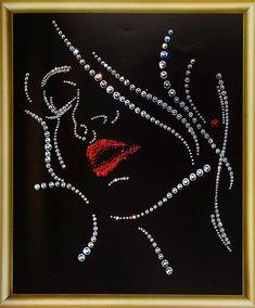 Dot Art Painting, Mandala Painting, Mandala Art, Beaded Embroidery, Hand Embroidery, Rhinestone Crafts, Button Art, String Art, Bead Art