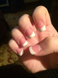 Pink and White French Tips #acrylics #nails