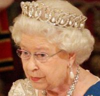"""The Vladimir tiara"" - The Queen really likes this one. Probably because she can switch out the pearls for emeralds or simply wear it without any jewels in the open work."