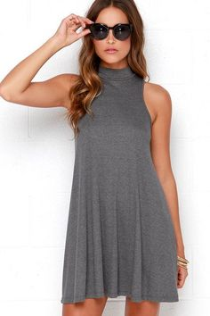 Black High Neck Sleeveless Mini Dress | Yoins Mini Dress ...