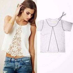 25 Inspirational Ideas for Transforming Your Old Shirts old t-shirt reuse ideas I would back the lace or use a fun cotton with a large print and fussy cut the pattern to create a fun edge like in the picturesCustomizar es la moda 2 ideas geniales up cycle Diy Clothing, Sewing Clothes, Upcycling Clothing, Recycled Clothing, Barbie Clothes, Diy Fashion, Ideias Fashion, Fashion Tips, Fashion Sewing