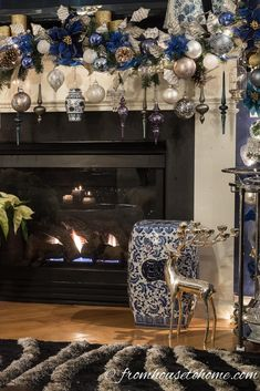 Blue Christmas Decoration Ideas Luxury Beautiful Blue and White Christmas Home Decorating Ideas Diy Christmas Fireplace, Christmas Mantels, Christmas Home, Fireplace Mantel, Christmas Villages, Halloween Fireplace, Christmas Trees, Grinch Christmas, Christmas Movies