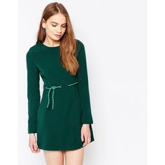 Daisy Street Dress With Tie Waist (€26) found on Polyvore featuring women's fashion, dresses, green, tie waist dress, tall dresses, zipper back dress, green white dress and white day dress