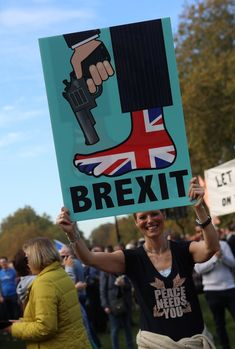 Protesters participating in an anti-Brexit demonstration, march through central London.