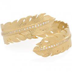Nina Feather Wrap Cuff Gold / White by Melinda Maria