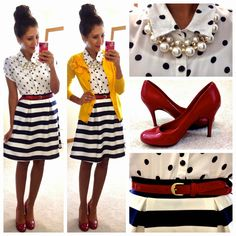 black & white polka dot blouse / black & white striped skirt / yellow cardigan / red pumps