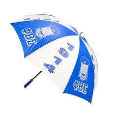 Phi Beta Sigma Jumbo Umbrella is available in Blue and White. Dimensions: 30-inch, with fiberglass shaft with acrylic handle.