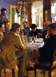 Peder Severin Krøyer(1851ー1909 a Danish painter)「Déjeuner des artistes à Skagen」(1883)