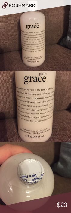 NWT Pure Grace olive oil scrub Brand new never opened Philosophy Pure Grace perfumed olive oil body scrub. 16 fl. Oz. Philosophy Other