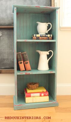 Cece Caldwells Destin Gulf Green, wet distressed on bookshelf. From Redoux Interiors. Chalk Paint Projects, Diy Furniture Projects, Furniture Makeover, Painted Bookcases, Bookshelves, Refurbished Furniture, Painted Furniture, White Nursery, Breezeway