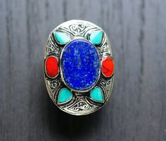 Lapis Kuchi Ring,Gypsy Ring,Coral,Turquoise ,Lapis Afghan Ring,Afghan jewelry,Tribal jewelry,Statement Ring,Kuchi jewelry,Free shipping by ZsTribalTreasures on Etsy