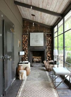 "Similar to what Southerners call a ""Lean To"" style of Porch. Similar to what Southerners call a ""Lean To"" style of Porch. Garden Room, Rustic Fireplaces, Cozy Living Rooms, Exposed Wood, House, Porch, Sunroom, Fireplace, House Extensions"