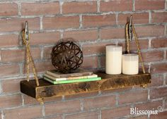 Rustic Reclaimed Rope Shelf With Boat Cleat Hangers Wood