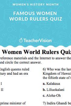 Famous Women World Rulers Quiz - Women's History Month Printable - Grade) Multiple Choice, Women's History, Educational Videos, Famous Women, Ruler, Lesson Plans, Queens, Literature, March